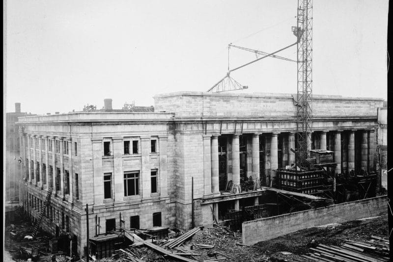 Historic photo of outside of Union Depot under construction