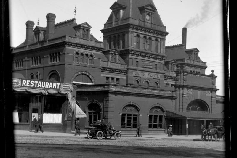 Historic photo of Union Depot under construction outside