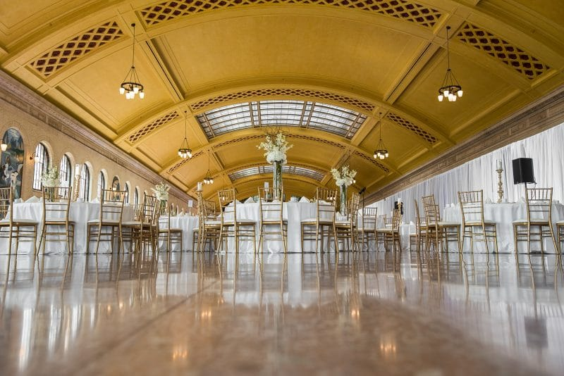 Event tables and flower arrangements in Union Depot's Waiting Room