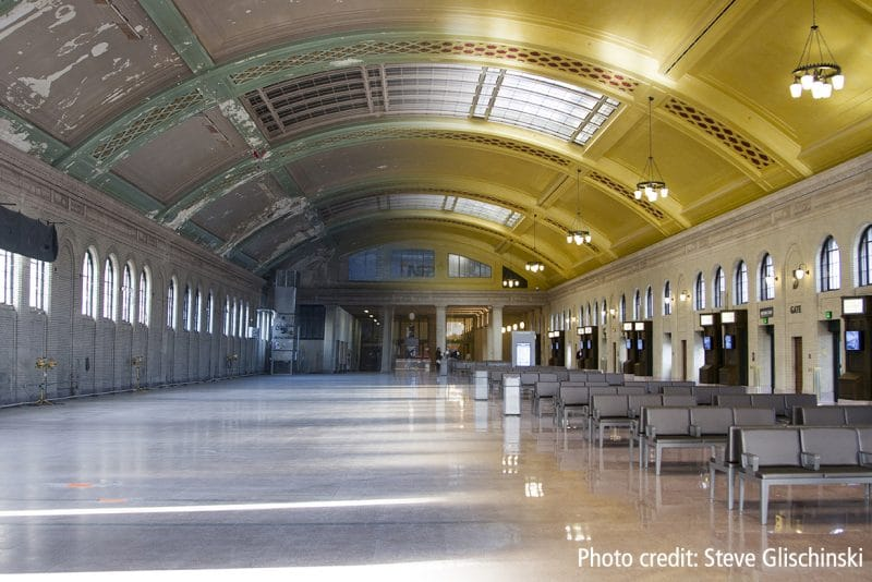 Before and after shot of Union Depot's Waiting Room transformation