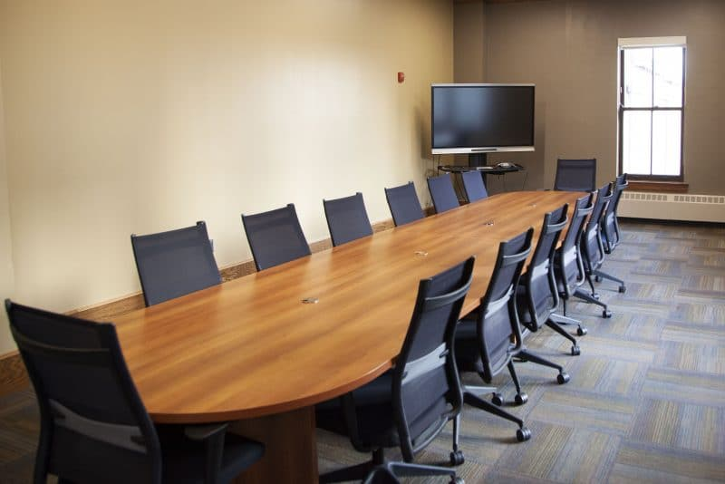 Meeting table in Riverview Conference room