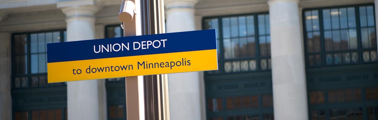 Union Depot bus sign