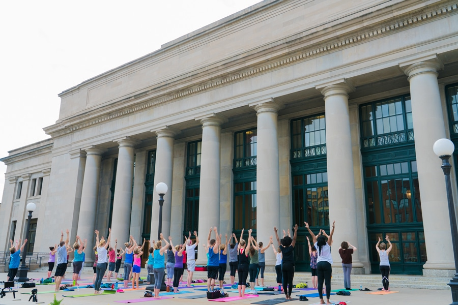 Yoga outside of Union Depot