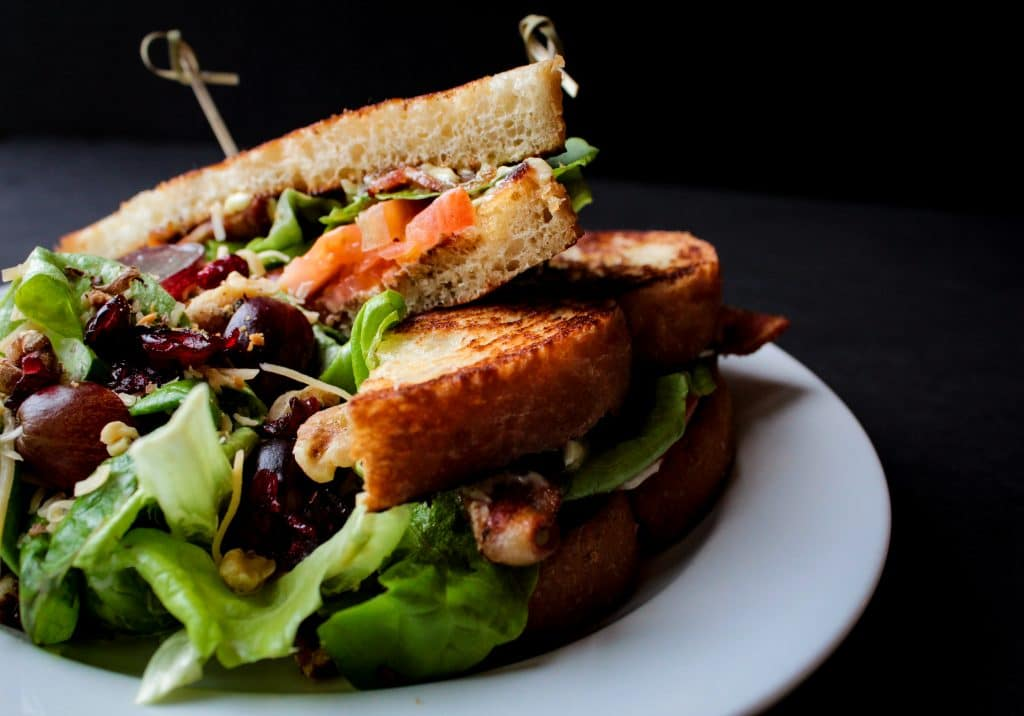 Up close shot of sandwich